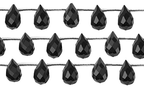 (1 Strand 16 Inch 6x9 mm Faceted Black Onyx Gemstone Beads)