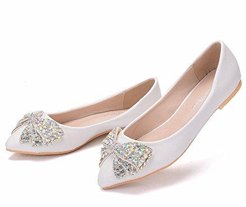 Moojm Zapatos Zapatos Flower Ager Bow Fiesta Rhinestone Pisos 01ABF Estrecha White De Vestido Mujeres Boda Punta Ballet RFRyHKS