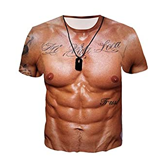 229f07509 Men's T-Shirts, Men Shirts Casual, Ohwensee Men Summer 3D T-Shirts Digital  Printing Realistic Muscle Short Sleeves Round Neck Pullover Tops:  Amazon.in: ...