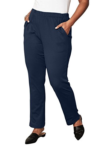 (Roamans Women's Plus Size Petite Soft Knit Straight-Leg Pants - Navy, 1X)