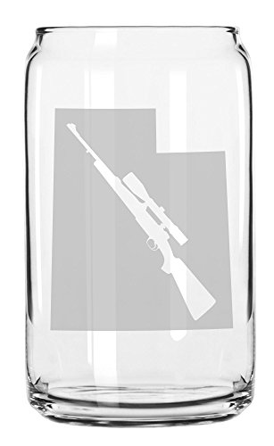 State of Utah with Scoped Hunting Style Rifle Cutout Etched Can Glass 16oz