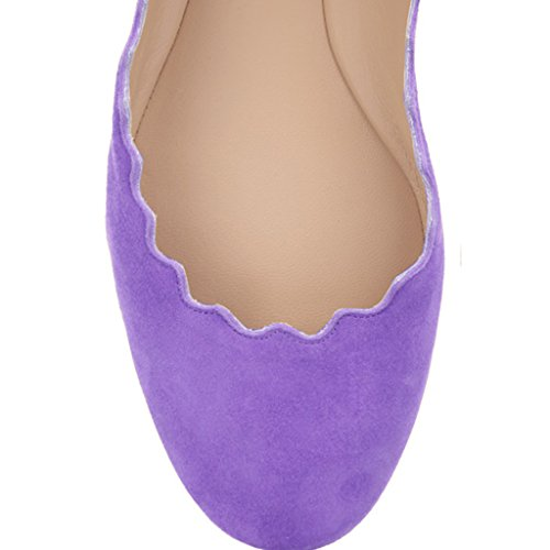 Lavender Cute Size for Comfort Dress 15 Suede Women 4 Ballet FSJ Round Flats Scalloping Toe US Shoes Sqa5wnxRF