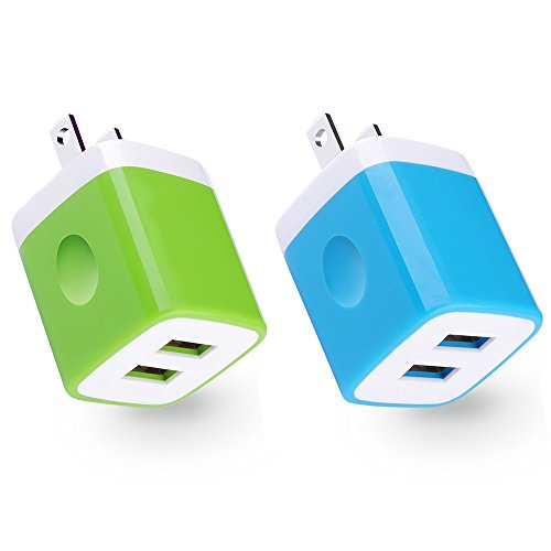 Price comparison product image USB Wall Charger, iPhone Brick, CableLovers 2PC USB Block 2.1AMP Universal Dual Port Cube Charger brick for iPhone 7/6S/6S Plus/6 Plus/6/5S/5, Samsung Galaxy S7/S6/S5 Edge, LG, HTC, Huawei, Moto ,More