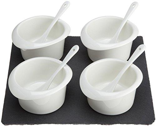 Porcelain Relish (Luigi Bormioli 9-Piece Slate and Porcelain Relish Set, One Size)