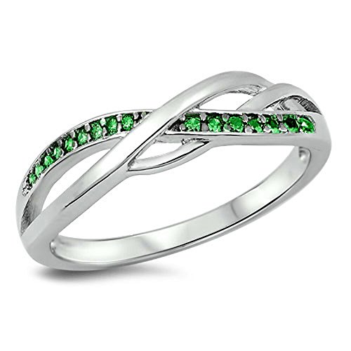 Celtic Knot Simulated Emerald Infinity Ring New .925 Sterling Silver Band Size 6