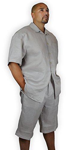 Blue Ocean Two-Piece Linen Set: Shirt and Short Pants-5X-Large-50W Grey ()