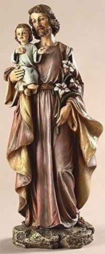 Saint Joseph and Child 10 Inch Resin Stone Decorative Figurine