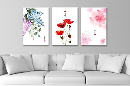 Card Art Flower (wall26-3 Panel Canvas Wall Art - Watercolor Style Flowers Lilac Poppy and Pink Flower Pattern - Giclee Print Gallery Wrap Modern Home Decor Ready to Hang - 16