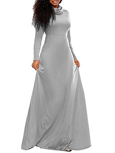 Flare Turtleneck (Women's Fall Cowl Neck Long Sleeve Casual Cocktail Wedding Long Maxi Skater Dress Grey S)