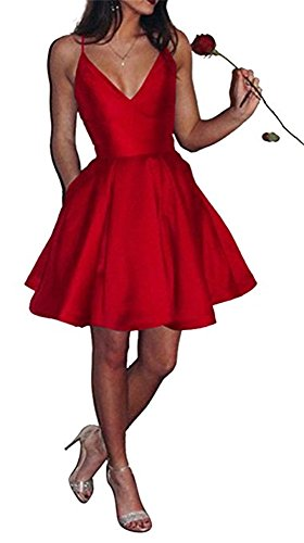 Homecoming Gowns Straps Women's A line Dresses Backless DreHouse Short Red Prom Spaghetti W07vqWwRB