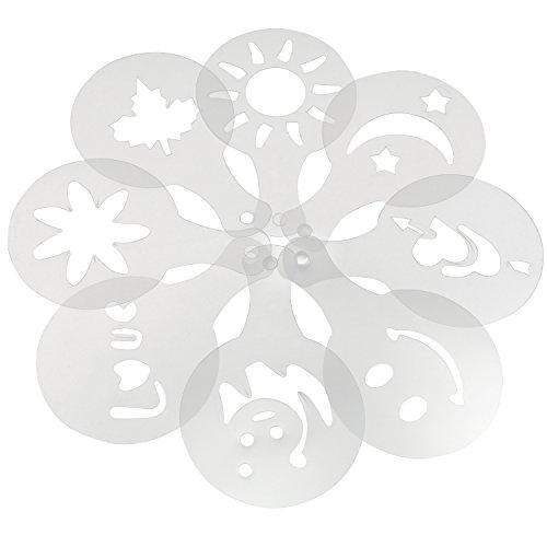 TRIXES Set mit 16 verschiedenen Design Barista Kaffee Schablonen Kuchen Deko Tools