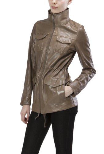 United Face Womens Lambskin Military Leather Jacket Medium Olive
