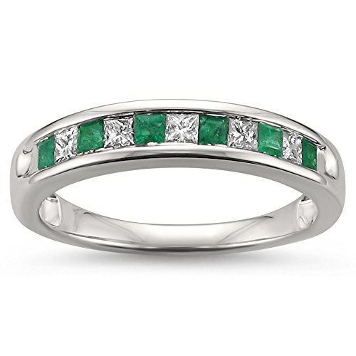 - La4ve Diamonds 14k White Gold Princess-Cut Diamond & Natural Green Emerald Wedding Band Ring (1/2 cttw, H-I, I1-I2), Size 7
