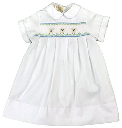 Rosalina Little Boy's Smocked Baby Lamb White Daygown 9M