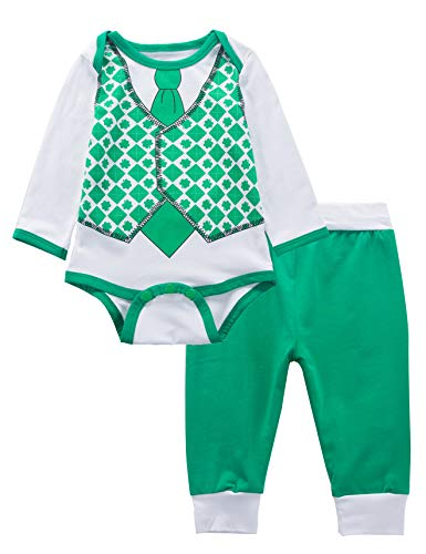 Baby Boy Outfit Set My First ST Patrick's Day Lucky Clover Long Sleeve Bodysuit (0-3 Months) -