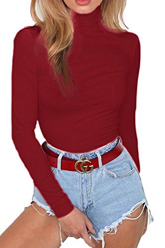 (ioiom Womans High Neck Long Sleeve Snap Crotch Leotard Stretch Winter Fleece Bodysuit Jumpsuit Romper Wine XL)
