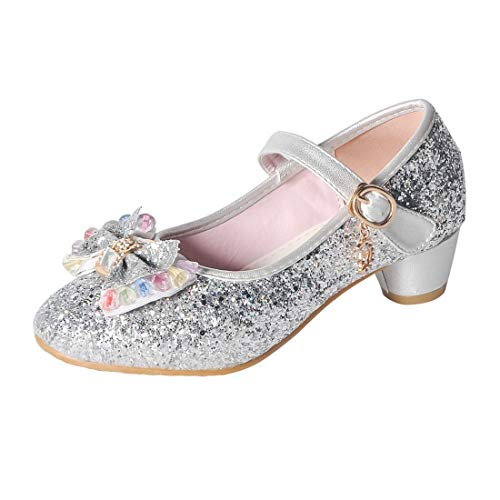 O&N Kids Girls Mary Jane Wedding Party Shoes Glitter Bridesmaids Low Heels Princess Dress Shoes Silver 12.5 M US Little Kid ()