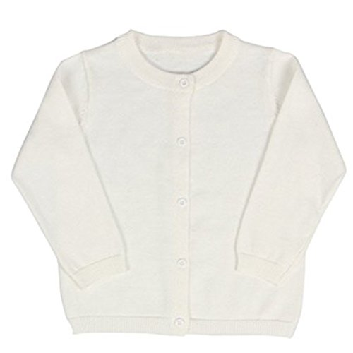 Baby Boys Girls Button-down Basic Crew Neck Solid Cardigan Toddler Cotton Knit Sweater (12-18 Months, White) 12mo Free Ship