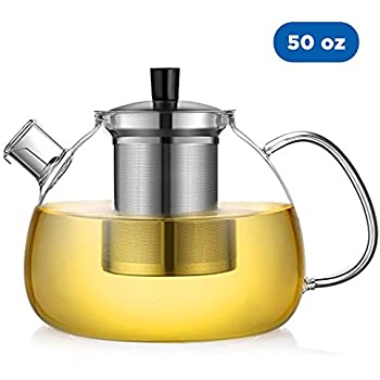 Ecooe 50 Ounce Large Clear Tea Glass Teapot Loose Leaf Tea Pot with 304 Stainless Steel Infuser Glass Tea Maker Kettle (50 oz Teapot) Christmas Gift