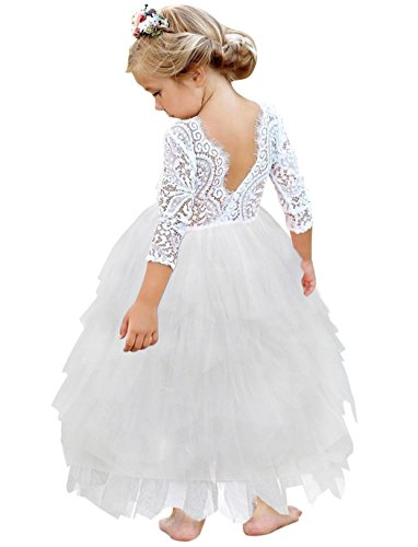 HenzWorld Girl Dress Kids V Back Lace Party Wedding Dresses Hollow Out Outfits White 5-6 Years -