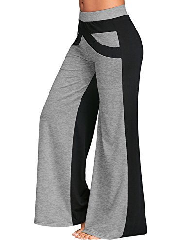 GAMISS Women Casual Loose Wide Leg Yoga Pants Elastic Waist Flared Bell Bottom Pants(Gray and Black,M) For Sale