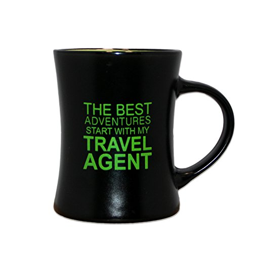 Lime Green Black 9oz Ceramic Novelty Coffee Mug The Best Adventures Start With My Travel Agent by Legacy Gifts   Perfect Inspirational Mug Gift for a Perfect Cup of Coffee, Tea or Hot (Gifts Coffee Mugs)