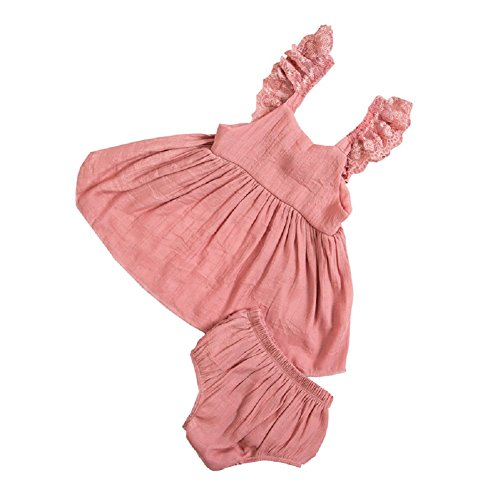 DQdq Baby Girl' s 2 Piece of Bloomers Sleeveless Top Sets Cotton Nude Pink,X-Small/ 0-3 Months (80 S Outfit)