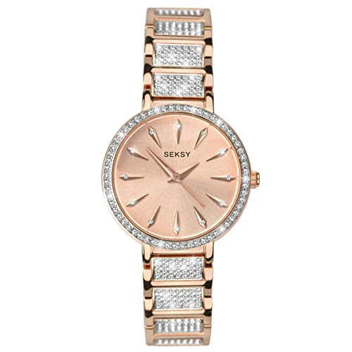 (Women's Rose Gold with Fine Swarovski Luxury Crystals Bracelet Watch, Rose Gold Plated with fine Stone Set dial, Water Resistant, Extra Clasp, Seksy Collection by Sekonda (Rose Gold/Silver))