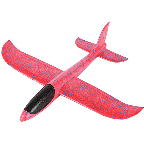FIRERO Foam Throwing Glider Airplane Inertia Aircraft Toy Hand Launch Airplane Model (Pink)