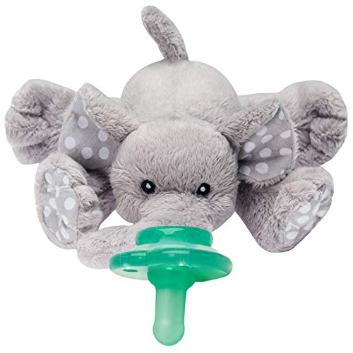 Elephant Newborn Teether - Nookums Paci-Plushies Elephant Buddies - Pacifier Holder (Plush Toy Includes Detachable Pacifier, Use with Multiple Brand Name Pacifiers)