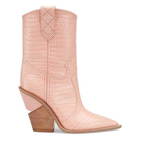 Alti 9cm Stivaletti Pu Donne L Caviglia Heel Pink Ballroom Neve tacchi Faux yc Sera Inverno Pumps Alla Platform Chunky Impermeabile wqaTE4a