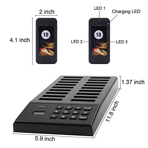 JOYSAE Restaurant Pager System Portable Wireless Calling System with 18pcs Coaster Pagers and 1pc Call Button Keypad Transmitter for Restaurant Clinic Church Cafe Shop by JOYSAE (Image #4)
