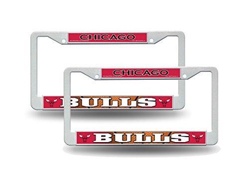 Chicago Bulls NBA White Plastic (2) Auto License Plate Frame (Bulls License Plate Frame)