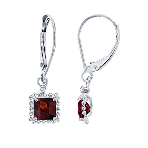 10K White Gold 1.25mm Round Created White Sapphire & 5mm Square Garnet Bead Frame Drop Leverback Earring
