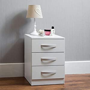 Amazon Brand – Movian High Gloss 3 Drawer Bedside Cabinet, White, 56 x 40 x 36 cm