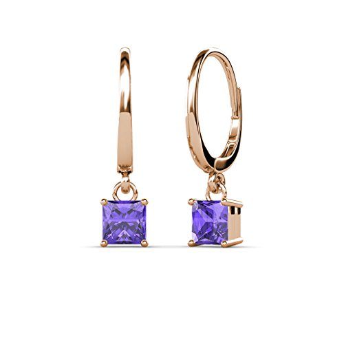TriJewels Iolite Four Prong Solitaire Dangling Earrings 1.70 ctw in 14K Rose Gold