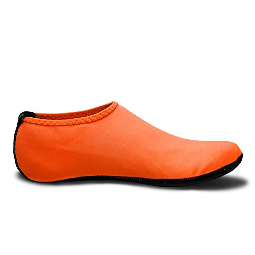 EQUICK Water Socks Durable Aqua Fins Barefoot Shoes New Version Updated Size Beach Pool Swim Surf Yoga Exercise 3 Orange huSXUmh09
