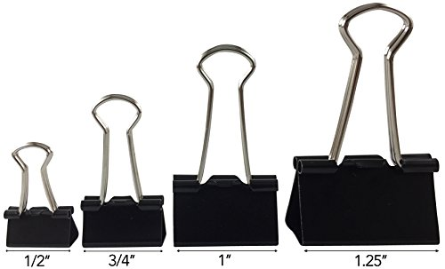 Clipco Binder Clips Jar Assorted Sizes Micro Mini Small and Medium Black (48-Pack) Photo #2