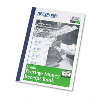 Rediform® Prestige™ Carbonless Money Receipt Book BOOK,MONEY REC DUP 4PG (Pack of6) by REDIFM
