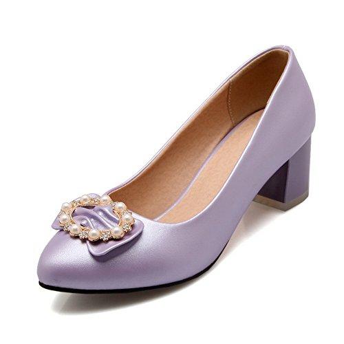 BalaMasa Womens Slip-On Low-Heels Solid Purple Nappa Pumps-Shoes - 9.5 B(M) US