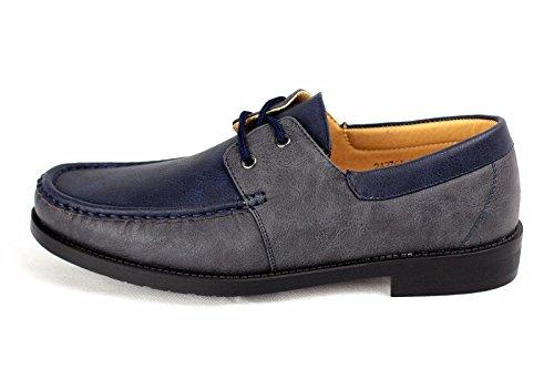 Hombre NUEVO Sin Cordones Zapatos Náuticos Conducción Mocasin Estilo Informal Mocasines Talla eu 34-40 Azul Marino/Gris