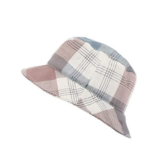 (CofeeMO Plaid Printed Fedora Womens Flat Tops Bucket Hats,Casual Spring Summer Vintage Sun Hat(Pink))
