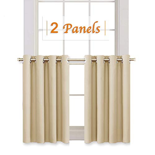 RYB HOME Room Darkening Curtain Tiers for Bedroom, Half Window Covering Blackout Drapes for Living Room/Cafe Shop, Short Curtains for Kitchen, Wide 52 x Long 36 inch, Biscotti Beige, 2 ()