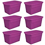 Sterilite 30-Gallon Tote, Fuchsia Flight, Case of 6
