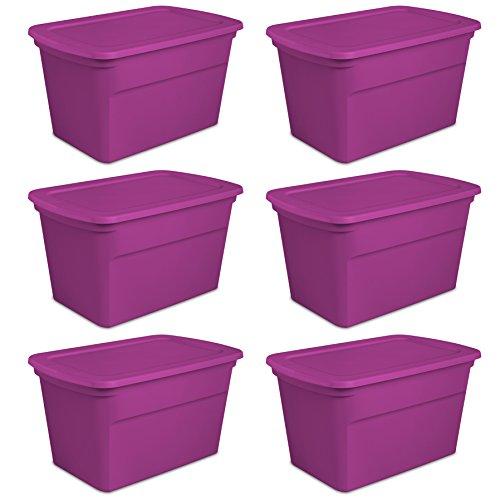 Sterilite 30-Gallon Tote, Fuchsia Flight, Case of - Containers Storage Gallon 30