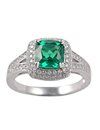 Newshe Jewellery 2CT Cushion Created Green Emerald White Topaz 925 Solid Sterling Silver Ring