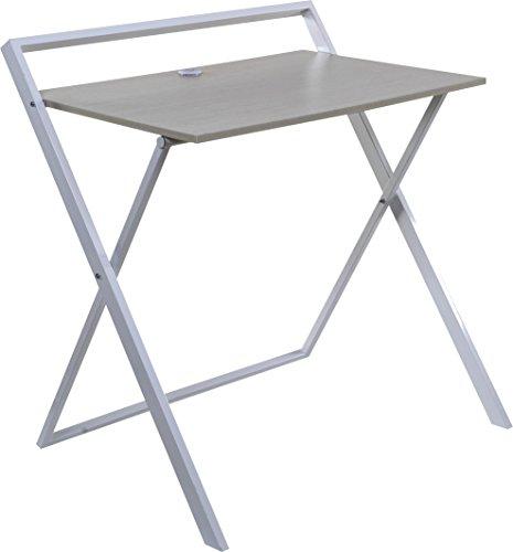 OneSpace Basics No Assembly Folding Desk with Dual USB Charger, Whitewashed Oak/White