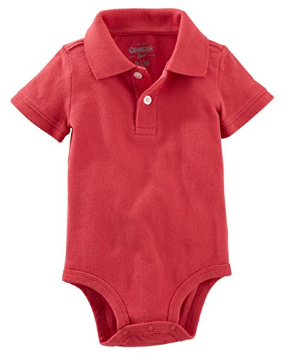 (OshKosh B'Gosh Baby Boys' Piqué Polo Bodysuit (9-12 Months, Red))