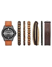 Skechers SR9023 Reloj para Hombre, Correa Poliuretano Café, Caratula Gunmetal, Análogo