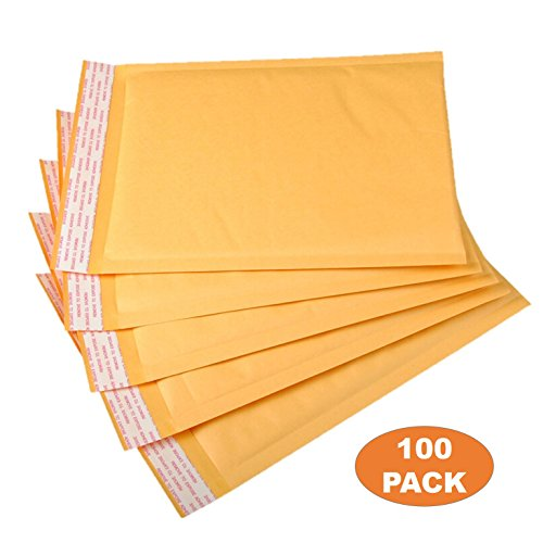 OfficeKit Kraft Bubble Mailers #0 6X10 Inches Shipping Padded Envelopes Self Seal Cushioned Mailing Envelope Bags 100 PACK by OfficeKit